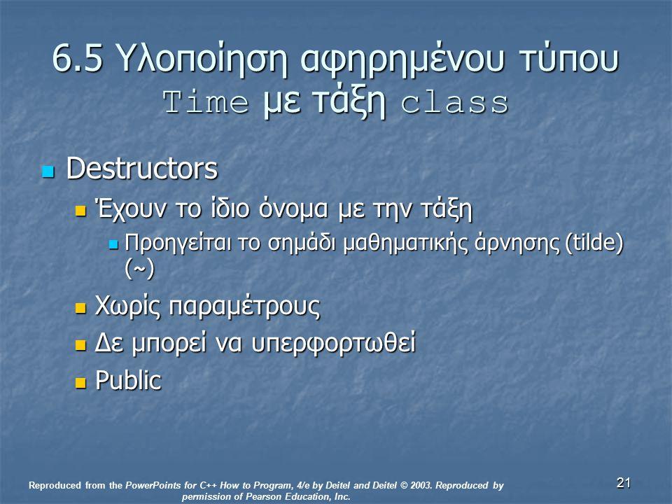 21 6.5 Υλοποίηση αφηρημένου τύπου Time με τάξη class Destructors Destructors Έχουν το ίδιο όνομα με την τάξη Έχουν το ίδιο όνομα με την τάξη Προηγείται το σημάδι μαθηματικής άρνησης (tilde) ( ~ ) Προηγείται το σημάδι μαθηματικής άρνησης (tilde) ( ~ ) Χωρίς παραμέτρους Χωρίς παραμέτρους Δε μπορεί να υπερφορτωθεί Δε μπορεί να υπερφορτωθεί Public Public Reproduced from the PowerPoints for C++ How to Program, 4/e by Deitel and Deitel © 2003.