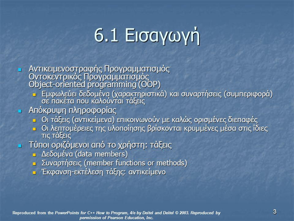 3 6.1 Εισαγωγή Αντικειμενοστραφής Προγραμματισμός Οντοκεντρικός Προγραμματισμός Object-oriented programming (OOP) Αντικειμενοστραφής Προγραμματισμός Οντοκεντρικός Προγραμματισμός Object-oriented programming (OOP) Εμφωλεύει δεδομένα (χαρακτηριστικά) και συναρτήσεις (συμπεριφορά) σε πακέτα που καλούνται τάξεις Εμφωλεύει δεδομένα (χαρακτηριστικά) και συναρτήσεις (συμπεριφορά) σε πακέτα που καλούνται τάξεις Απόκρυψη πληροφορίας Απόκρυψη πληροφορίας Οι τάξεις (αντικείμενα) επικοινωνούν με καλώς ορισμένες διεπαφές Οι τάξεις (αντικείμενα) επικοινωνούν με καλώς ορισμένες διεπαφές Οι λεπτομέρειες της υλοποίησης βρίσκονται κρυμμένες μέσα στις ίδιες τις τάξεις Οι λεπτομέρειες της υλοποίησης βρίσκονται κρυμμένες μέσα στις ίδιες τις τάξεις Τύποι οριζόμενοι από το χρήστη: τάξεις Τύποι οριζόμενοι από το χρήστη: τάξεις Δεδομένα (data members) Δεδομένα (data members) Συναρτήσεις (member functions or methods) Συναρτήσεις (member functions or methods) Έκφανση-εκτέλεση τάξης: αντικείμενο Έκφανση-εκτέλεση τάξης: αντικείμενο Reproduced from the PowerPoints for C++ How to Program, 4/e by Deitel and Deitel © 2003.