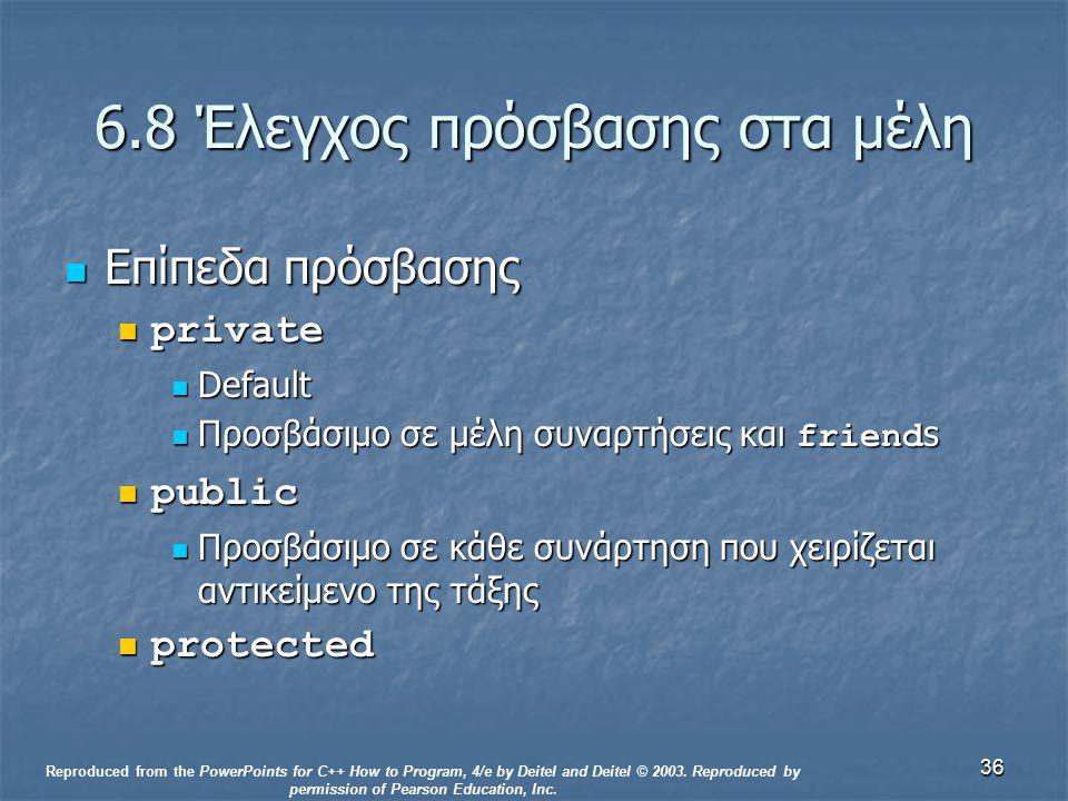36 6.8 Έλεγχος πρόσβασης στα μέλη Επίπεδα πρόσβασης Επίπεδα πρόσβασης private private Default Default Προσβάσιμο σε μέλη συναρτήσεις και friend s Προσβάσιμο σε μέλη συναρτήσεις και friend s public public Προσβάσιμο σε κάθε συνάρτηση που χειρίζεται αντικείμενο της τάξης Προσβάσιμο σε κάθε συνάρτηση που χειρίζεται αντικείμενο της τάξης protected protected Reproduced from the PowerPoints for C++ How to Program, 4/e by Deitel and Deitel © 2003.