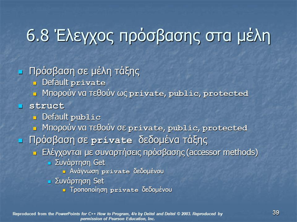 39 6.8 Έλεγχος πρόσβασης στα μέλη Πρόσβαση σε μέλη τάξης Πρόσβαση σε μέλη τάξης Default private Default private Μπορούν να τεθούν ως private, public, protected Μπορούν να τεθούν ως private, public, protected struct struct Default public Default public Μπορούν να τεθούν σε private, public, protected Μπορούν να τεθούν σε private, public, protected Πρόσβαση σε private δεδομένα τάξης Πρόσβαση σε private δεδομένα τάξης Ελέγχονται με συναρτήσεις πρόσβασης (accessor methods) Ελέγχονται με συναρτήσεις πρόσβασης (accessor methods) Συνάρτηση Get Συνάρτηση Get Ανάγνωση private δεδομένου Ανάγνωση private δεδομένου Συνάρτηση Set Συνάρτηση Set Τροποποίηση private δεδομένου Τροποποίηση private δεδομένου Reproduced from the PowerPoints for C++ How to Program, 4/e by Deitel and Deitel © 2003.