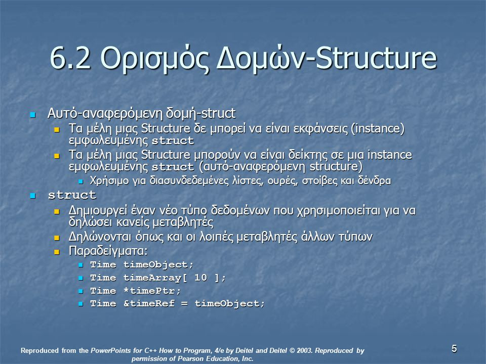 5 6.2 Ορισμός Δομών-Structure Αυτό-αναφερόμενη δομή-struct Αυτό-αναφερόμενη δομή-struct Τα μέλη μιας Structure δε μπορεί να είναι εκφάνσεις (instance) εμφωλευμένης struct Τα μέλη μιας Structure δε μπορεί να είναι εκφάνσεις (instance) εμφωλευμένης struct Τα μέλη μιας Structure μπορούν να είναι δείκτης σε μια instance εμφωλευμένης struct (αυτό-αναφερόμενη structure) Τα μέλη μιας Structure μπορούν να είναι δείκτης σε μια instance εμφωλευμένης struct (αυτό-αναφερόμενη structure) Χρήσιμο για διασυνδεδεμένες λίστες, ουρές, στοίβες και δένδρα Χρήσιμο για διασυνδεδεμένες λίστες, ουρές, στοίβες και δένδρα struct struct Δημιουργεί έναν νέο τύπο δεδομένων που χρησιμοποιείται για να δηλώσει κανείς μεταβλητές Δημιουργεί έναν νέο τύπο δεδομένων που χρησιμοποιείται για να δηλώσει κανείς μεταβλητές Δηλώνονται όπως και οι λοιπές μεταβλητές άλλων τύπων Δηλώνονται όπως και οι λοιπές μεταβλητές άλλων τύπων Παραδείγματα: Παραδείγματα: Time timeObject; Time timeObject; Time timeArray[ 10 ]; Time timeArray[ 10 ]; Time *timePtr; Time *timePtr; Time &timeRef = timeObject; Time &timeRef = timeObject; Reproduced from the PowerPoints for C++ How to Program, 4/e by Deitel and Deitel © 2003.