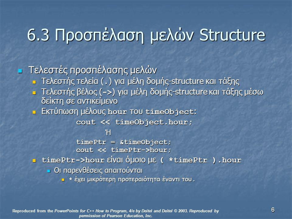 6 6.3 Προσπέλαση μελών Structure Τελεστές προσπέλασης μελών Τελεστές προσπέλασης μελών Τελεστής τελεία (. ) για μέλη δομής-structure και τάξης Τελεστή