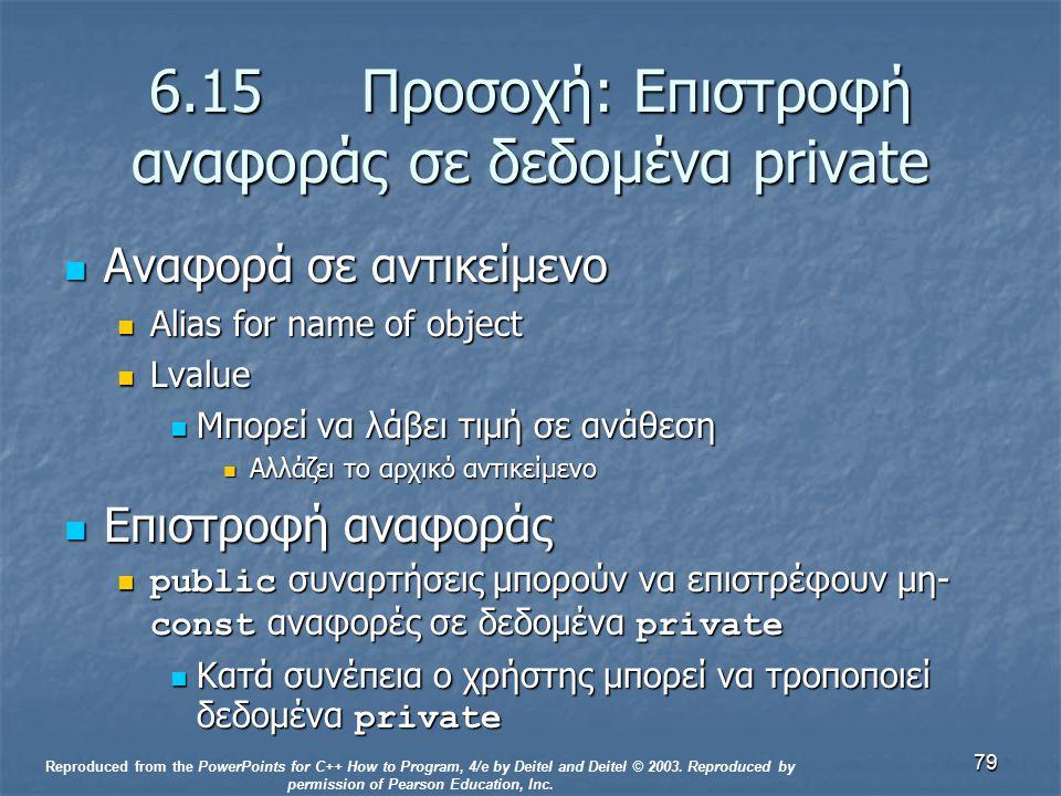79 6.15 Προσοχή: Επιστροφή αναφοράς σε δεδομένα private Αναφορά σε αντικείμενο Αναφορά σε αντικείμενο Alias for name of object Alias for name of objec