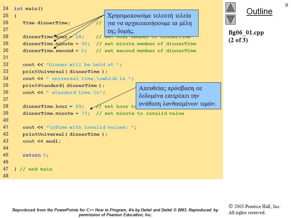 40 6.9 Συναρτήσεις πρόσβασης και βοηθητικές συναρτήσεις Συναρτήσεις πρόσβασης Συναρτήσεις πρόσβασης public public Διαβάζουν/ παρουσιάζουν δεδομένα Διαβάζουν/ παρουσιάζουν δεδομένα Δηλωτικές συναρτήσεις Δηλωτικές συναρτήσεις Έλεγχος Έλεγχος Βοηθητικές συναρτήσεις Utility functions (helper functions) Βοηθητικές συναρτήσεις Utility functions (helper functions) private private Υποστηρίζουν τη λειτουργία των public συναρτήσεων Υποστηρίζουν τη λειτουργία των public συναρτήσεων Δεν έχουν δημιουργηθεί για χρήση από τον τελικό χρήστη Δεν έχουν δημιουργηθεί για χρήση από τον τελικό χρήστη Reproduced from the PowerPoints for C++ How to Program, 4/e by Deitel and Deitel © 2003.