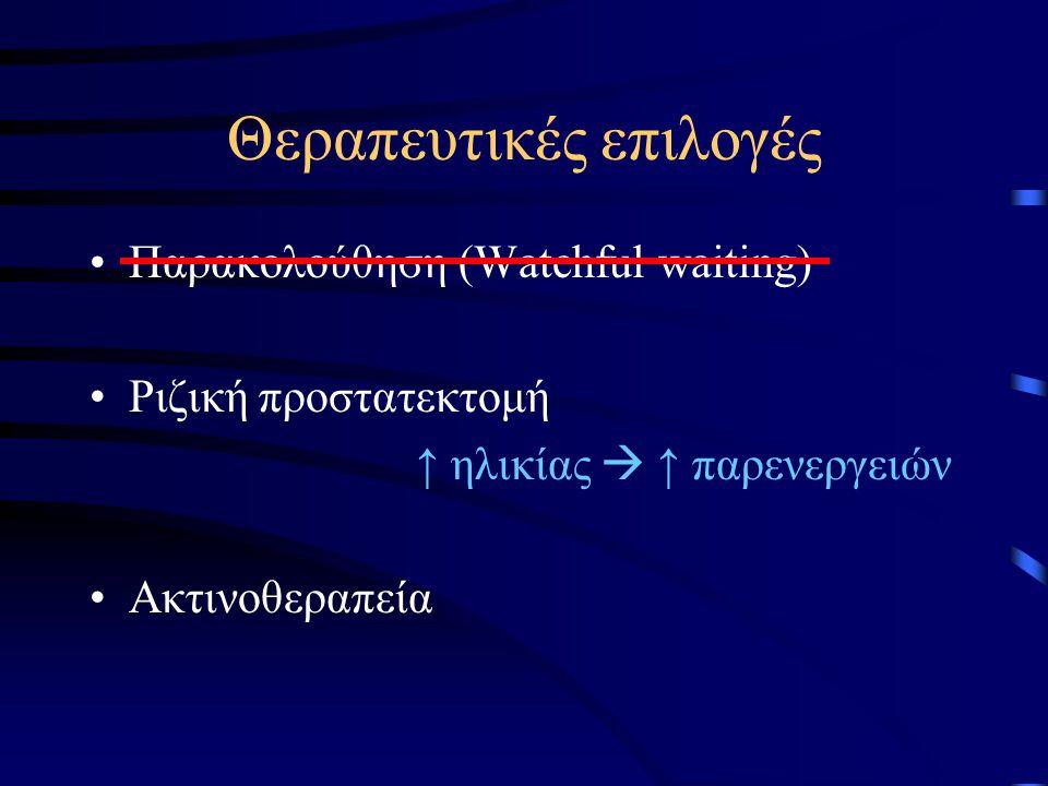 Θεραπευτικές επιλογές Παρακολούθηση (Watchful waiting) Ριζική προστατεκτομή ↑ ηλικίας  ↑ παρενεργειών Ακτινοθεραπεία