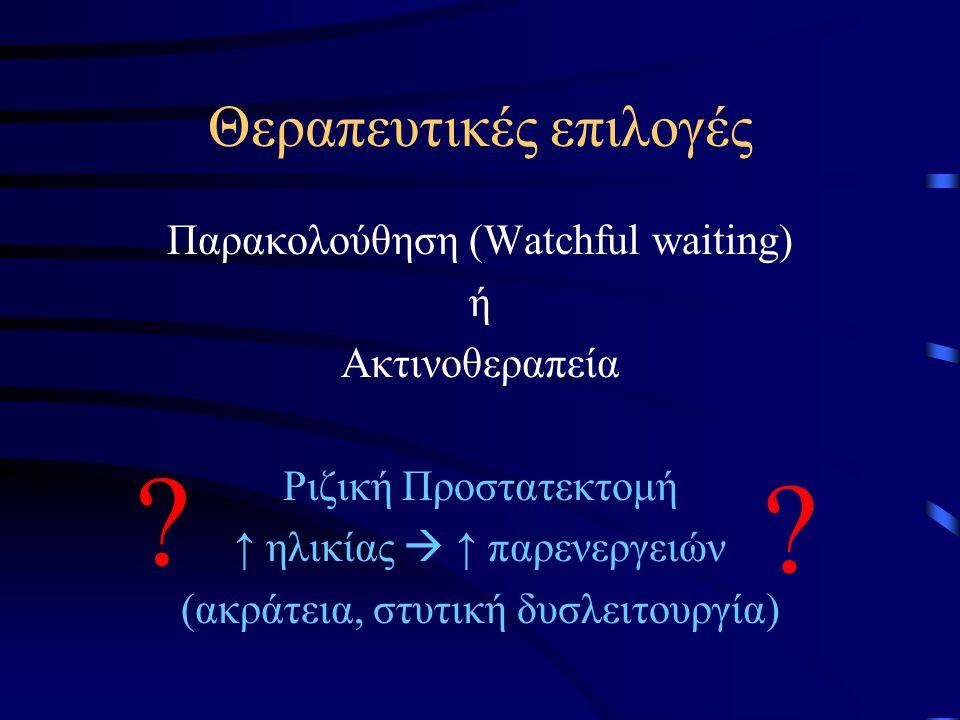 Θεραπευτικές επιλογές Παρακολούθηση (Watchful waiting) ή Ακτινοθεραπεία Ριζική Προστατεκτομή ↑ ηλικίας  ↑ παρενεργειών (ακράτεια, στυτική δυσλειτουργ