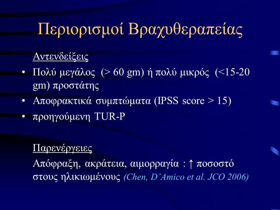 Περιορισμοί Βραχυθεραπείας Αντενδείξεις Πολύ μεγάλος (> 60 gm) ή πολύ μικρός (<15-20 gm) προστάτης Αποφρακτικά συμπτώματα (IPSS score > 15) προηγούμενη TUR-P Παρενέργειες Απόφραξη, ακράτεια, αιμορραγία : ↑ ποσοστό στους ηλικιωμένους (Chen, D'Amico et al.