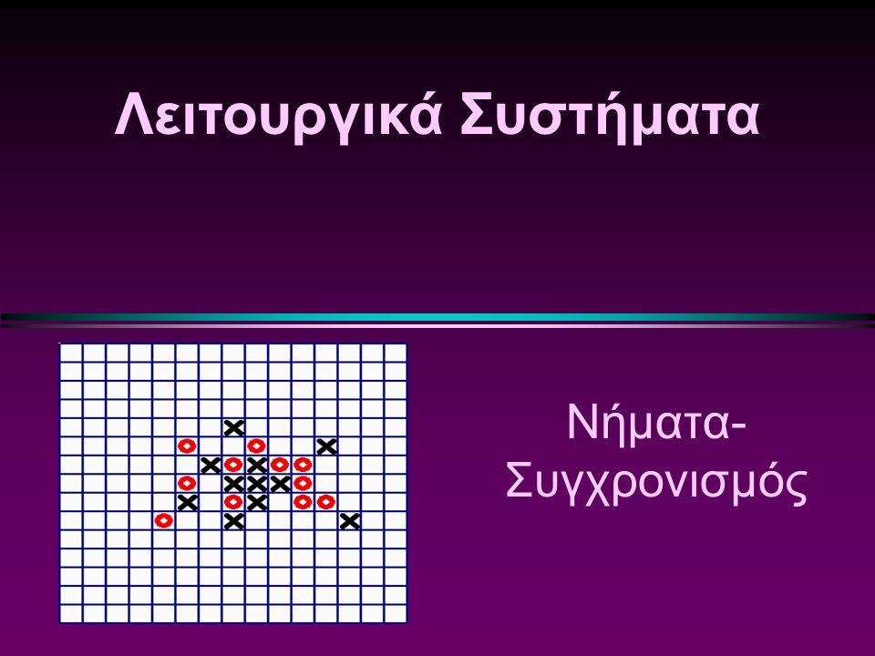 Λειτουργικά Συστήματα/ Slide 82 Υλοποίηση Ελεγκτών με Σημαφόρους (συνέχεια)  Η λειτουργία x.signal() μπορεί να υλοποιηθεί ως εξής: if (x-count > 0) { next-count++; signal(&x-sem); wait(&next); next-count--; }