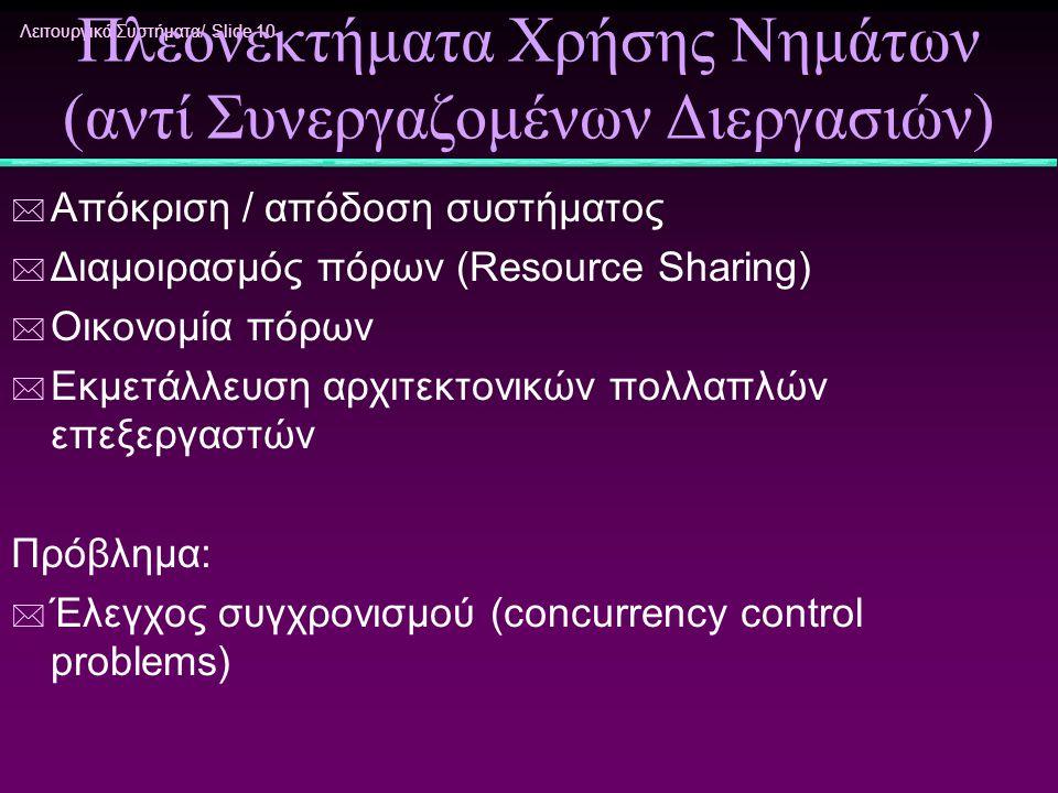 Λειτουργικά Συστήματα/ Slide 10 Πλεονεκτήματα Χρήσης Νημάτων (αντί Συνεργαζομένων Διεργασιών) * Απόκριση / απόδοση συστήματος * Διαμοιρασμός πόρων (Re