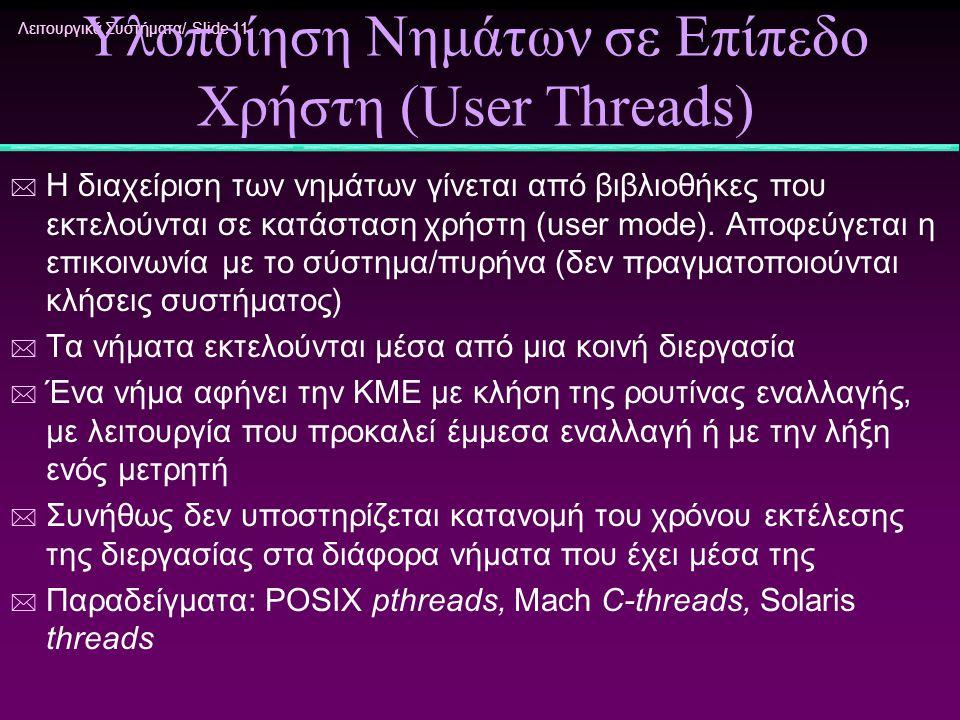 Λειτουργικά Συστήματα/ Slide 11 Υλοποίηση Νημάτων σε Επίπεδο Χρήστη (User Threads) * Η διαχείριση των νημάτων γίνεται από βιβλιοθήκες που εκτελούνται