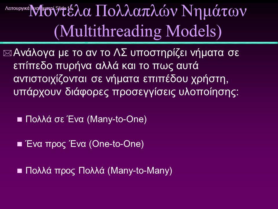 Λειτουργικά Συστήματα/ Slide 15 Μοντέλα Πολλαπλών Νημάτων (Multithreading Models) * Ανάλογα με το αν το ΛΣ υποστηρίζει νήματα σε επίπεδο πυρήνα αλλά κ
