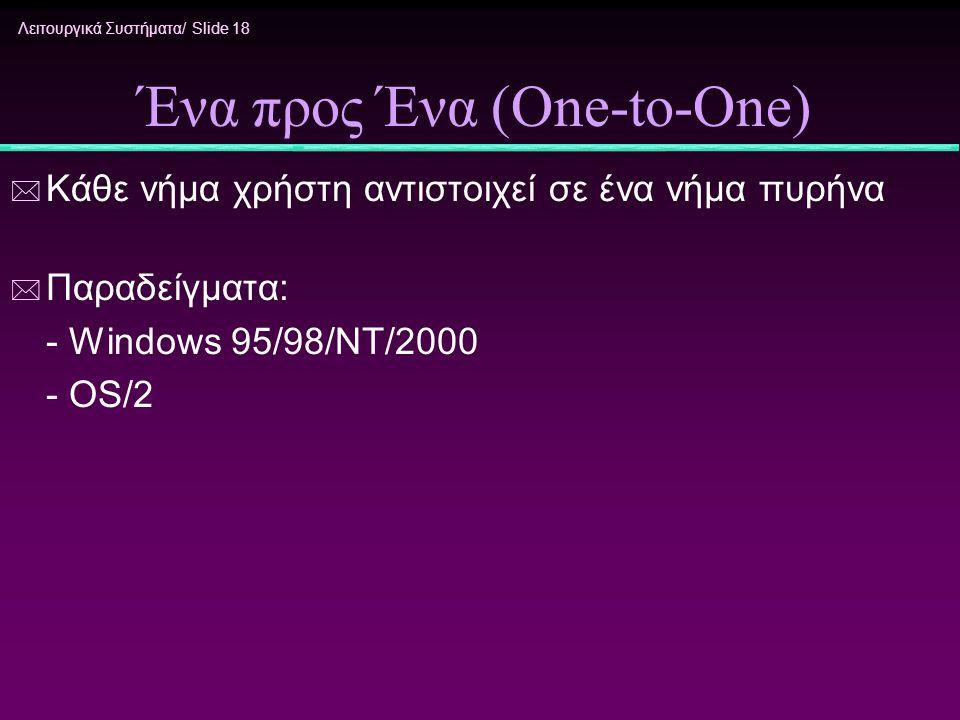 Λειτουργικά Συστήματα/ Slide 18 Ένα προς Ένα (One-to-One) * Κάθε νήμα χρήστη αντιστοιχεί σε ένα νήμα πυρήνα * Παραδείγματα: - Windows 95/98/NT/2000 -
