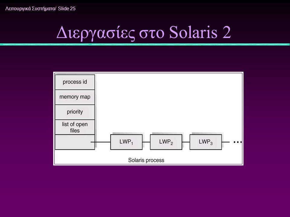 Λειτουργικά Συστήματα/ Slide 25 Διεργασίες στο Solaris 2