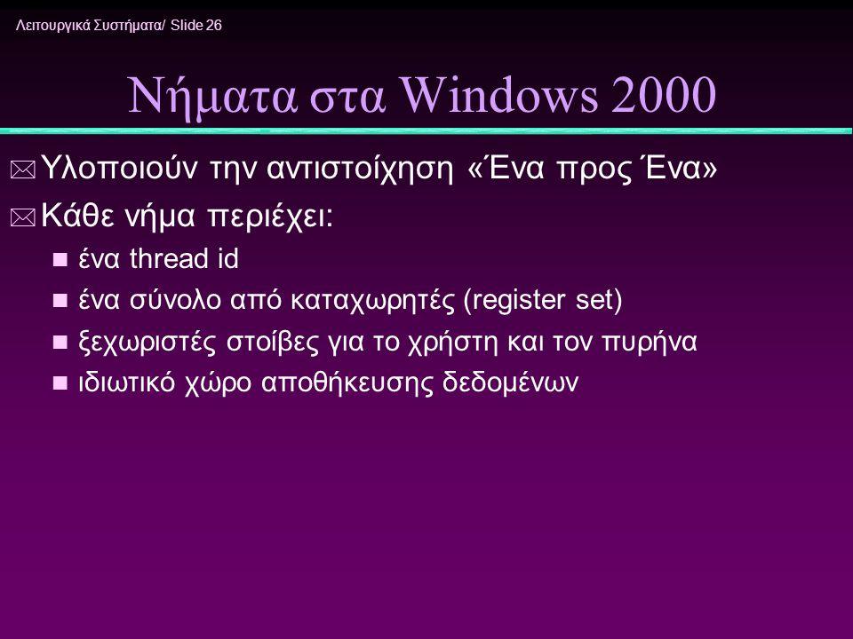Λειτουργικά Συστήματα/ Slide 26 Νήματα στα Windows 2000 * Υλοποιούν την αντιστοίχηση «Ένα προς Ένα» * Κάθε νήμα περιέχει: n ένα thread id n ένα σύνολο