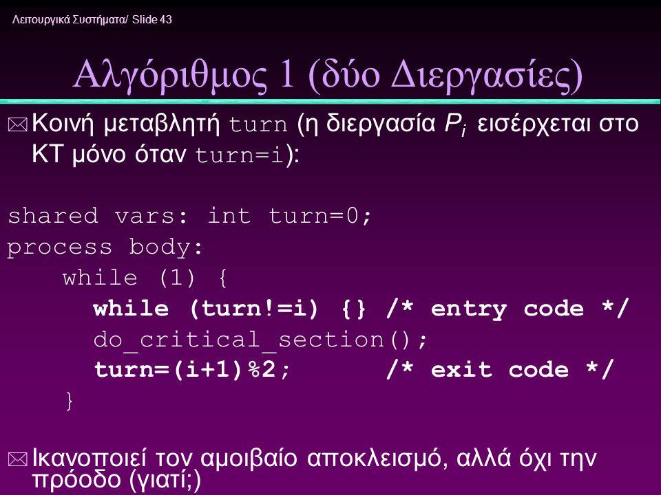Λειτουργικά Συστήματα/ Slide 43 Αλγόριθμος 1 (δύο Διεργασίες)  Κοινή μεταβλητή turn (η διεργασία P i εισέρχεται στο ΚΤ μόνο όταν turn=i ): shared var