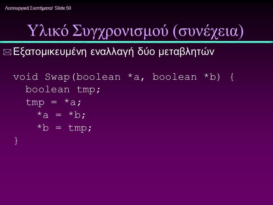 Λειτουργικά Συστήματα/ Slide 50 Υλικό Συγχρονισμού (συνέχεια) * Εξατομικευμένη εναλλαγή δύο μεταβλητών void Swap(boolean *a, boolean *b) { boolean tmp