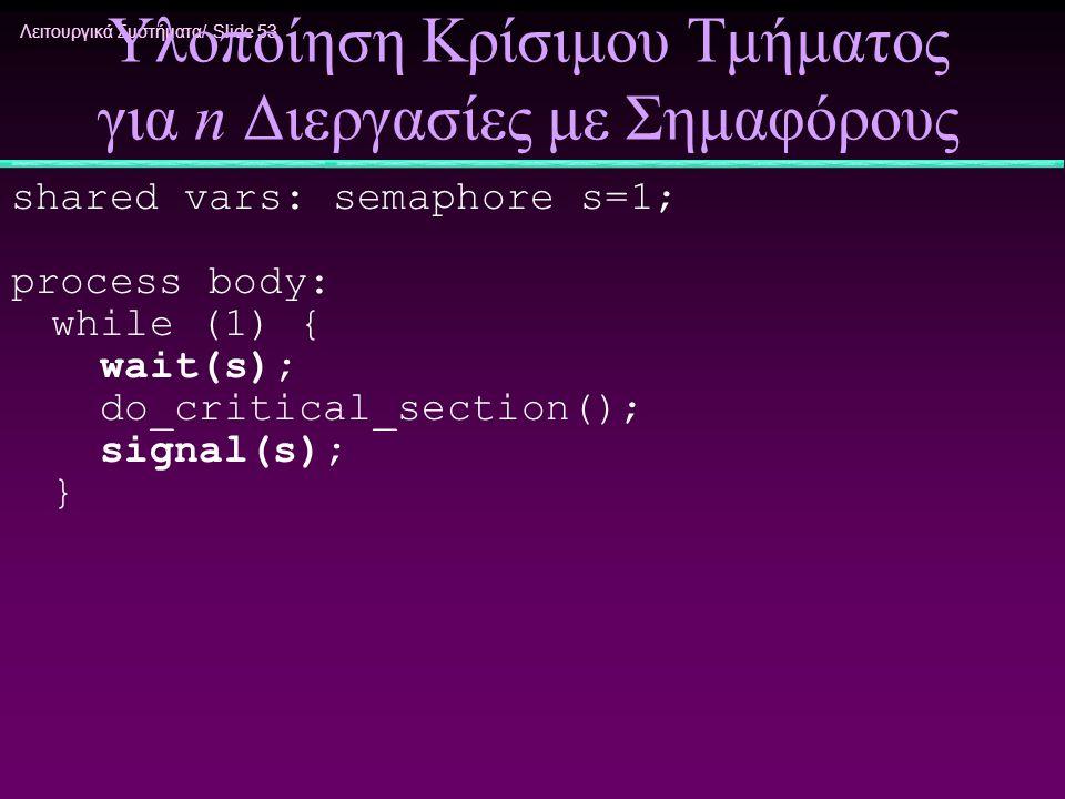 Λειτουργικά Συστήματα/ Slide 53 Υλοποίηση Κρίσιμου Τμήματος για n Διεργασίες με Σημαφόρους shared vars: semaphore s=1; process body: while (1) { wait(