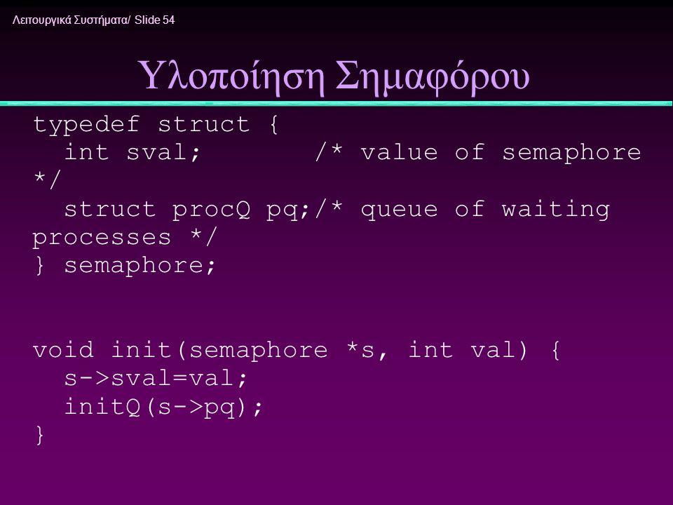 Λειτουργικά Συστήματα/ Slide 54 Υλοποίηση Σημαφόρου typedef struct { int sval; /* value of semaphore */ struct procQ pq;/* queue of waiting processes