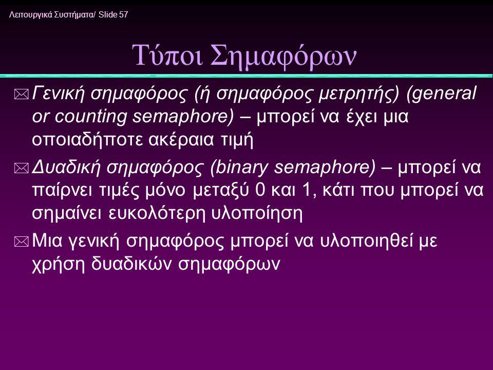 Λειτουργικά Συστήματα/ Slide 57 Τύποι Σημαφόρων * Γενική σημαφόρος (ή σημαφόρος μετρητής) (general or counting semaphore) – μπορεί να έχει μια οποιαδή