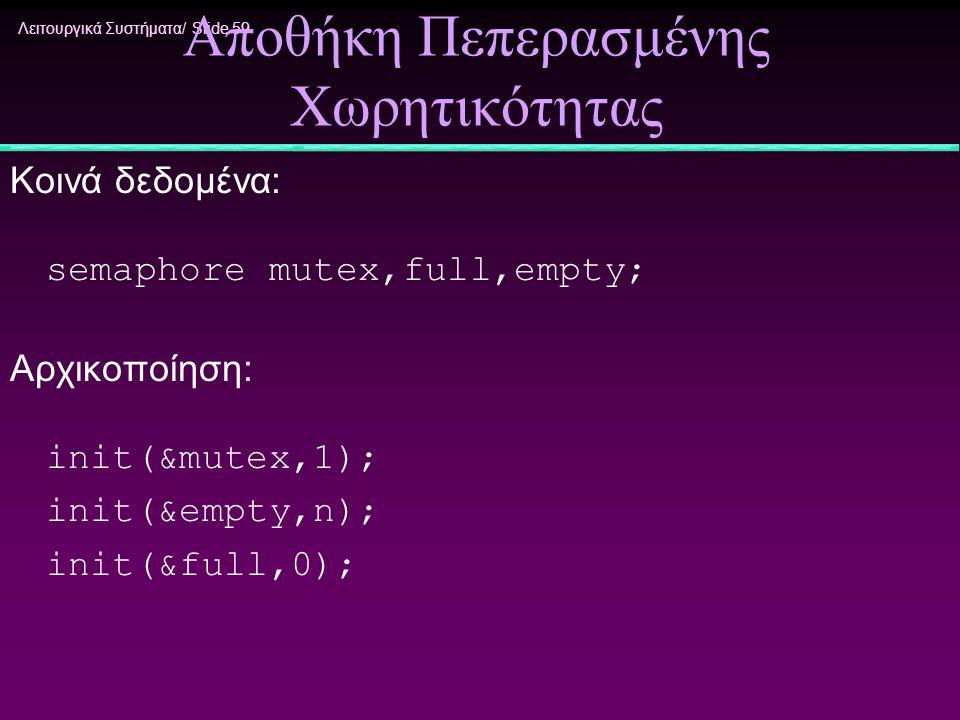 Λειτουργικά Συστήματα/ Slide 59 Αποθήκη Πεπερασμένης Χωρητικότητας Κοινά δεδομένα: semaphore mutex,full,empty; Αρχικοποίηση: init(&mutex,1); init(&emp
