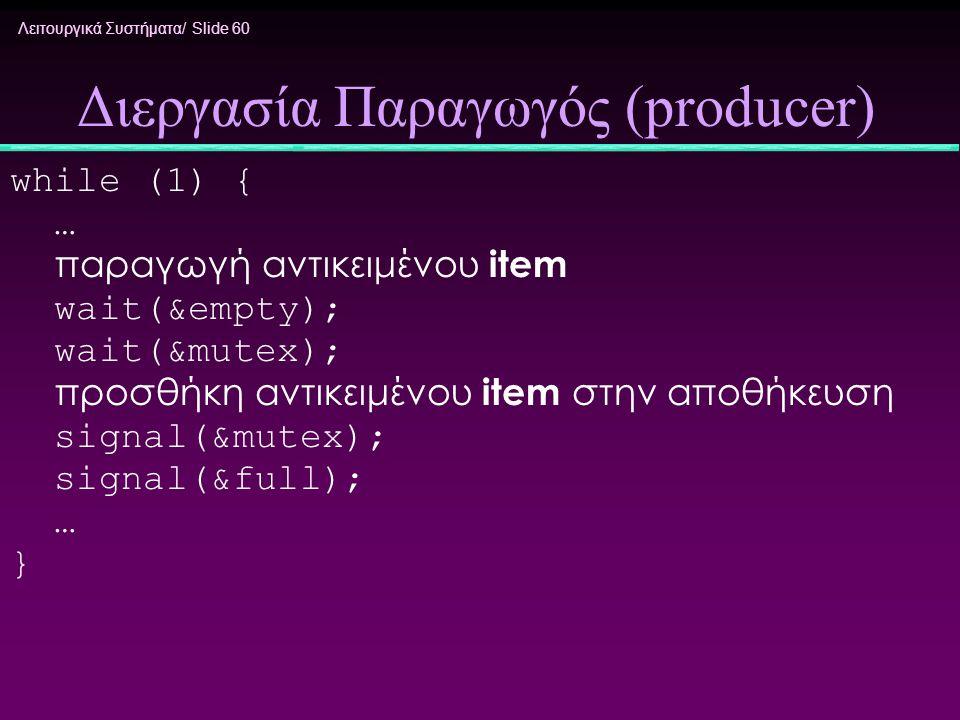 Λειτουργικά Συστήματα/ Slide 60 Διεργασία Παραγωγός (producer) while (1) { … παραγωγή αντικειμένου item wait(&empty); wait(&mutex); προσθήκη αντικειμέ