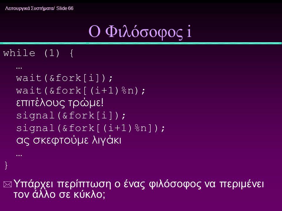 Λειτουργικά Συστήματα/ Slide 66 Ο Φιλόσοφος i while (1) { … wait(&fork[i]); wait(&fork[(i+1)%n); επιτέλους τρώμε! signal(&fork[i]); signal(&fork[(i+1)