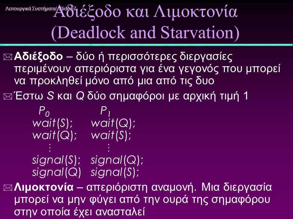 Λειτουργικά Συστήματα/ Slide 67 Αδιέξοδο και Λιμοκτονία (Deadlock and Starvation) * Αδιέξοδο – δύο ή περισσότερες διεργασίες περιμένουν απεριόριστα γι