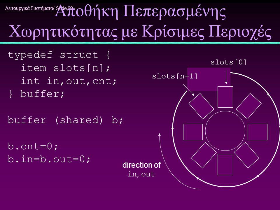 Λειτουργικά Συστήματα/ Slide 69 Αποθήκη Πεπερασμένης Χωρητικότητας με Κρίσιμες Περιοχές typedef struct { item slots[n]; int in,out,cnt; } buffer; buff
