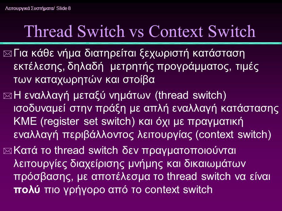 Λειτουργικά Συστήματα/ Slide 8 Thread Switch vs Context Switch * Για κάθε νήμα διατηρείται ξεχωριστή κατάσταση εκτέλεσης, δηλαδή μετρητής προγράμματος