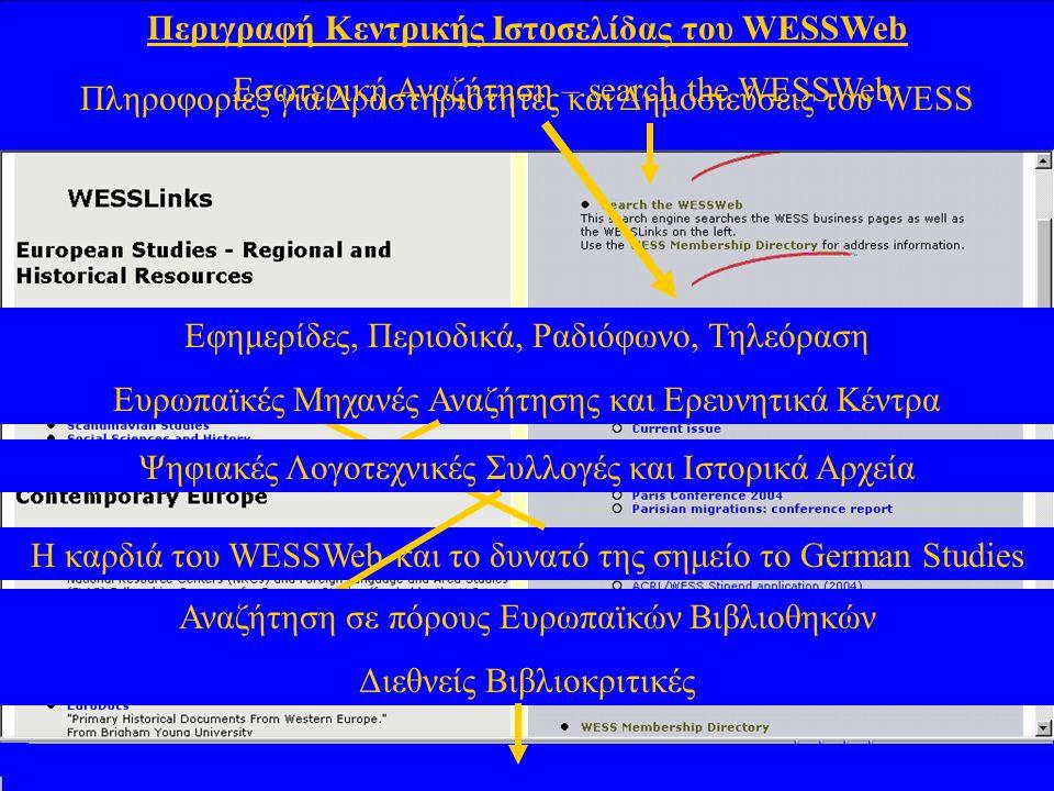 Οργάνωση και Λειτουργία της Καρδιάς του WESSWeb  Οι Θεματικές ενότητες της καρδιάς του WESSWeb περιλαμβάνουν Κλασσικές, Αγγλικές, Γερμανικές, Ολλανδικές, Γαλλικές, Ιταλικές, Ιβηρικές, Σκανδιναβικές και Κοινωνικο-Ιστορικές Σπουδές.