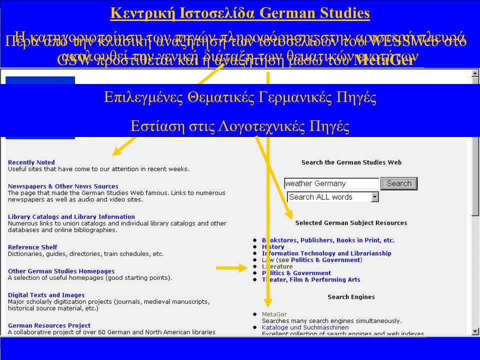 Κεντρική Ιστοσελίδα German Studies Η κατηγοριοποίηση των πηγών πληροφόρησης στην αριστερή πλευρά ακολουθεί την γενική διάταξη των θεματικών ενοτήτων Πέρα από την κλασική αναζήτηση των ιστοσελίδων του WESSWeb στο GSW προστίθεται και η αναζήτηση μέσω του MetaGer Επιλεγμένες Θεματικές Γερμανικές Πηγές Εστίαση στις Λογοτεχνικές Πηγές