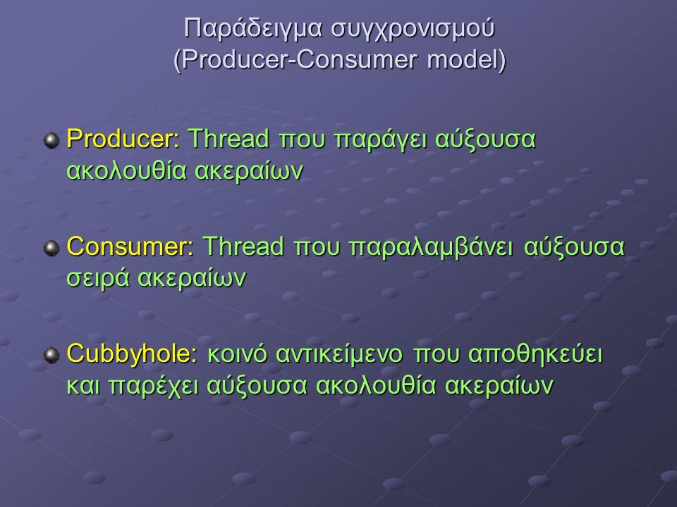 Παράδειγμα συγχρονισμού (Producer-Consumer model) Producer: Thread που παράγει αύξουσα ακολουθία ακεραίων Consumer: Thread που παραλαμβάνει αύξουσα σειρά ακεραίων Cubbyhole: κοινό αντικείμενο που αποθηκεύει και παρέχει αύξουσα ακολουθία ακεραίων