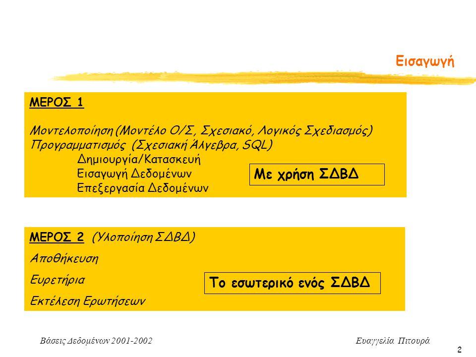 Βάσεις Δεδομένων 2001-2002 Ευαγγελία Πιτουρά 2 Εισαγωγή ΜΕΡΟΣ 2 (Υλοποίηση ΣΔΒΔ) Αποθήκευση Ευρετήρια Εκτέλεση Ερωτήσεων Το εσωτερικό ενός ΣΔΒΔ Γενική Εικόνα του Μαθήματος ΜΕΡΟΣ 1 Μοντελοποίηση (Μοντέλο Ο/Σ, Σχεσιακό, Λογικός Σχεδιασμός) Προγραμματισμός (Σχεσιακή Άλγεβρα, SQL) Δημιουργία/Κατασκευή Εισαγωγή Δεδομένων Επεξεργασία Δεδομένων Με χρήση ΣΔΒΔ
