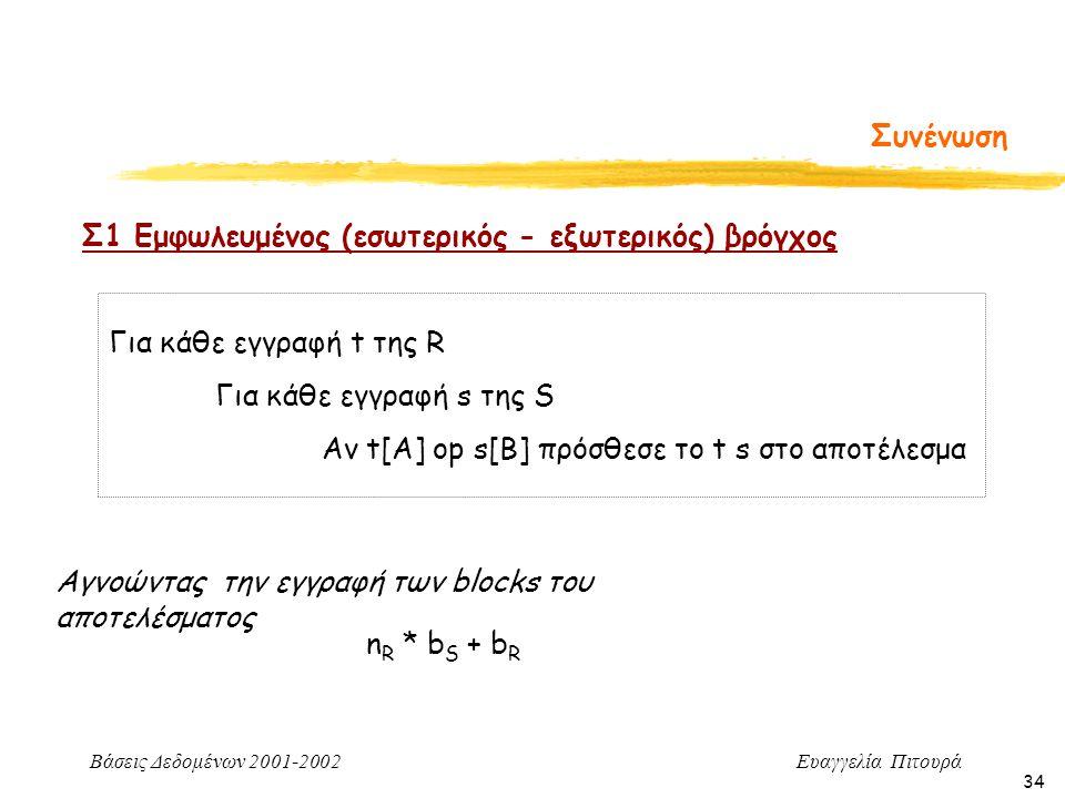 Βάσεις Δεδομένων 2001-2002 Ευαγγελία Πιτουρά 34 Συνένωση Σ1 Εμφωλευμένος (εσωτερικός - εξωτερικός) βρόγχος Για κάθε εγγραφή t της R Για κάθε εγγραφή s της S Αν t[A] op s[B] πρόσθεσε το t s στο αποτέλεσμα n R * b S + b R Αγνοώντας την εγγραφή των blocks του αποτελέσματος