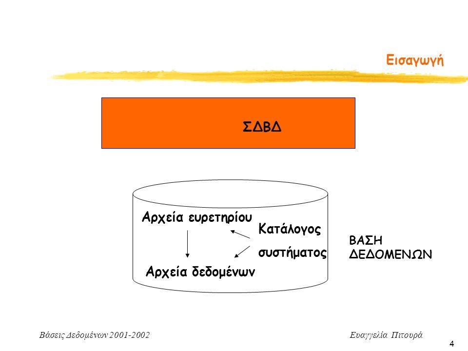 Βάσεις Δεδομένων 2001-2002 Ευαγγελία Πιτουρά 4 Εισαγωγή ΒΑΣΗ ΔΕΔΟΜΕΝΩΝ Αρχεία δεδομένων Αρχεία ευρετηρίου Κατάλογος συστήματος ΣΔΒΔ
