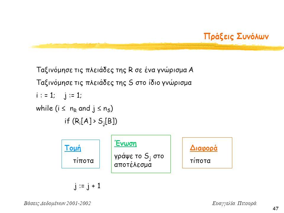 Βάσεις Δεδομένων 2001-2002 Ευαγγελία Πιτουρά 47 Πράξεις Συνόλων Ταξινόμησε τις πλειάδες της R σε ένα γνώρισμα Α Ταξινόμησε τις πλειάδες της S στο ίδιο γνώρισμα i : = 1; j := 1; while (i  n R and j  n S ) if (R i [A] > S j [B]) Τομή τίποτα Ένωση γράψε το S j στο αποτέλεσμα Διαφορά τίποτα j := j + 1