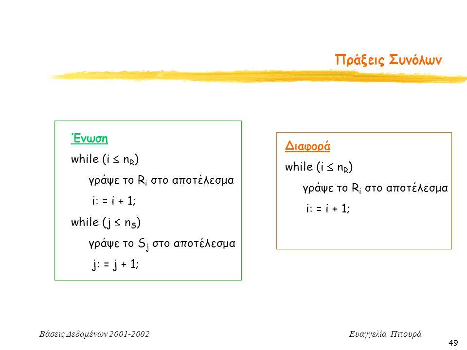 Βάσεις Δεδομένων 2001-2002 Ευαγγελία Πιτουρά 49 Πράξεις Συνόλων Ένωση while (i  n R ) γράψε το R i στο αποτέλεσμα i: = i + 1; while (j  n S ) γράψε το S j στο αποτέλεσμα j: = j + 1; Διαφορά while (i  n R ) γράψε το R i στο αποτέλεσμα i: = i + 1;