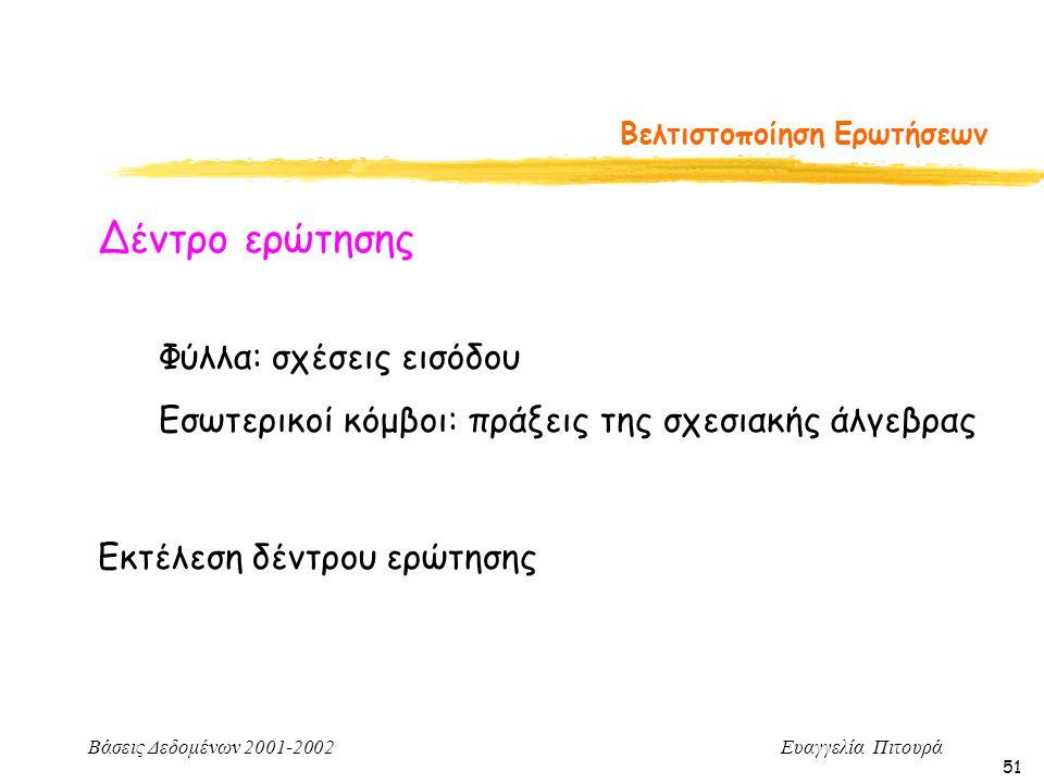 Βάσεις Δεδομένων 2001-2002 Ευαγγελία Πιτουρά 51 Βελτιστοποίηση Ερωτήσεων Δέντρο ερώτησης Φύλλα: σχέσεις εισόδου Εσωτερικοί κόμβοι: πράξεις της σχεσιακής άλγεβρας Εκτέλεση δέντρου ερώτησης