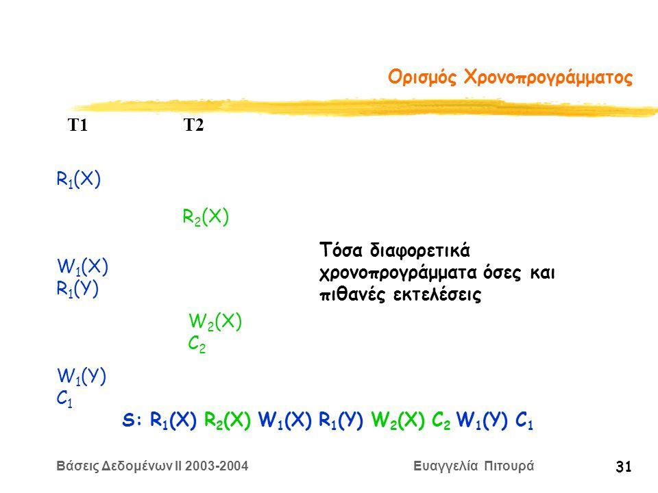 Βάσεις Δεδομένων II 2003-2004 Ευαγγελία Πιτουρά 31 Ορισμός Χρονοπρογράμματος R 1 (X) W 2 (X) C 2 T1 T2 W 1 (X) R 1 (Y) R 2 (X) W 1 (Y) C 1 S: R 1 (X) R 2 (X) W 1 (X) R 1 (Y) W 2 (X) C 2 W 1 (Y) C 1 Τόσα διαφορετικά χρονοπρογράμματα όσες και πιθανές εκτελέσεις
