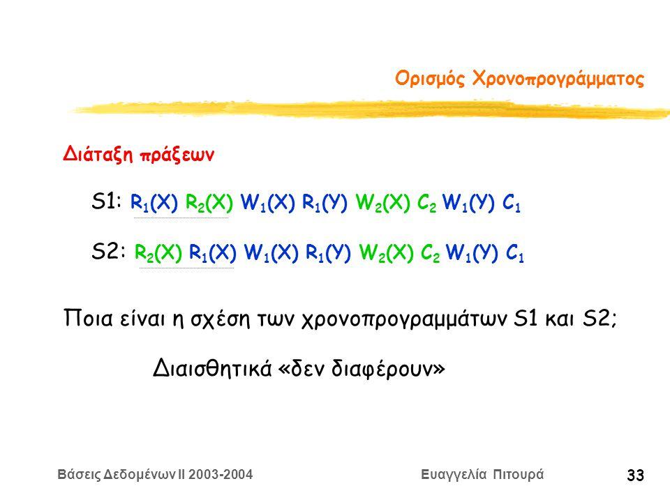 Βάσεις Δεδομένων II 2003-2004 Ευαγγελία Πιτουρά 33 Ορισμός Χρονοπρογράμματος S1: R 1 (X) R 2 (X) W 1 (X) R 1 (Y) W 2 (X) C 2 W 1 (Y) C 1 Διάταξη πράξεων S2: R 2 (X) R 1 (X) W 1 (X) R 1 (Y) W 2 (X) C 2 W 1 (Y) C 1 Ποια είναι η σχέση των χρονοπρογραμμάτων S1 και S2; Διαισθητικά «δεν διαφέρουν»