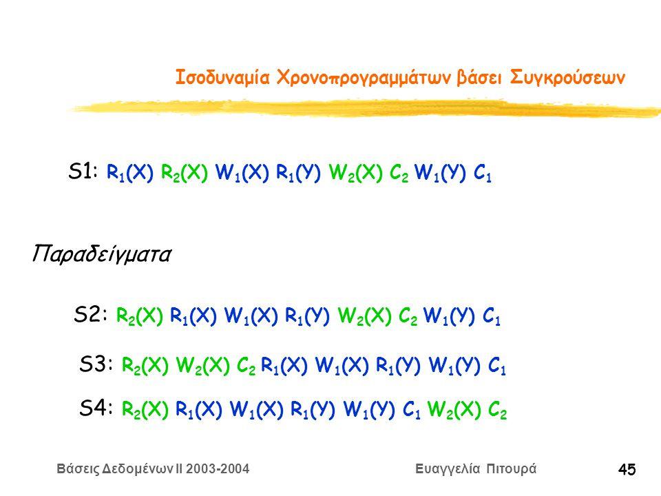 Βάσεις Δεδομένων II 2003-2004 Ευαγγελία Πιτουρά 45 Ισοδυναμία Χρονοπρογραμμάτων βάσει Συγκρούσεων S1: R 1 (X) R 2 (X) W 1 (X) R 1 (Y) W 2 (X) C 2 W 1 (Y) C 1 S3: R 2 (X) W 2 (X) C 2 R 1 (X) W 1 (X) R 1 (Y) W 1 (Y) C 1 S2: R 2 (X) R 1 (X) W 1 (X) R 1 (Y) W 2 (X) C 2 W 1 (Y) C 1 Παραδείγματα S4: R 2 (X) R 1 (X) W 1 (X) R 1 (Y) W 1 (Y) C 1 W 2 (X) C 2