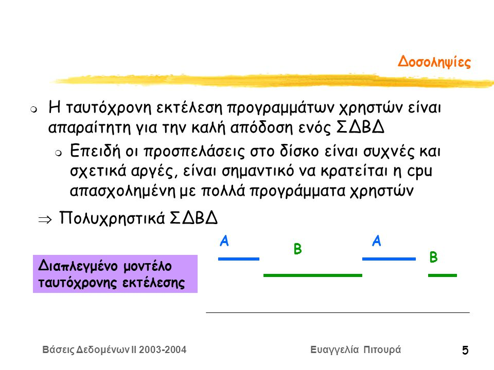 Βάσεις Δεδομένων II 2003-2004 Ευαγγελία Πιτουρά 5 Δοσοληψίες m Η ταυτόχρονη εκτέλεση προγραμμάτων χρηστών είναι απαραίτητη για την καλή απόδοση ενός ΣΔΒΔ m Επειδή οι προσπελάσεις στο δίσκο είναι συχνές και σχετικά αργές, είναι σημαντικό να κρατείται η cpu απασχολημένη με πολλά προγράμματα χρηστών  Πολυχρηστικά ΣΔΒΔ Διαπλεγμένο μοντέλο ταυτόχρονης εκτέλεσης ΑΑ Β Β