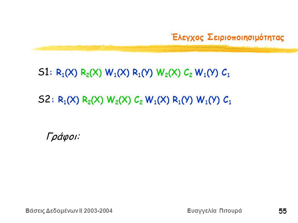 Βάσεις Δεδομένων II 2003-2004 Ευαγγελία Πιτουρά 55 Έλεγχος Σειριοποιησιμότητας S1 : R 1 (X) R 2 (X) W 1 (X) R 1 (Y) W 2 (X) C 2 W 1 (Y) C 1 S2 : R 1 (X) R 2 (X) W 2 (X) C 2 W 1 (X) R 1 (Y) W 1 (Y) C 1 Γράφοι: