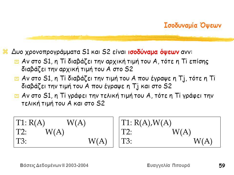 Βάσεις Δεδομένων II 2003-2004 Ευαγγελία Πιτουρά 59 Ισοδυναμία Όψεων zΔυο χρονοπρογράμματα S1 και S2 είναι ισοδύναμα όψεων ανν: y Αν στο S1, η Ti διαβάζει την αρχική τιμή του A, τότε η Ti επίσης διαβάζει την αρχική τιμή του A στο S2 y Αν στο S1, η Ti διαβάζει την τιμή του A που έγραψε η Tj, τότε η Ti διαβάζει την τιμή του A που έγραψε η Tj και στο S2 y Αν στο S1, η Ti γράφει την τελική τιμή του A, τότε η Ti γράφει την τελική τιμή του A και στο S2 T1: R(A) W(A) T2: W(A) T3: W(A) T1: R(A),W(A) T2: W(A) T3: W(A)