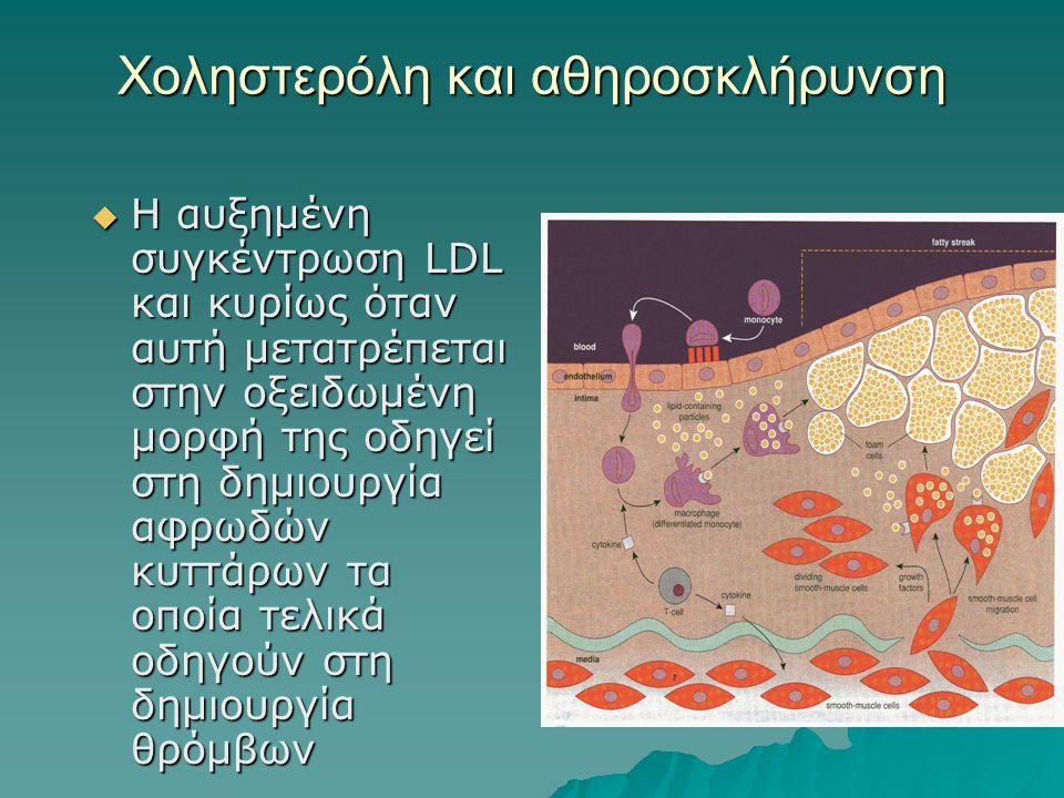 Χοληστερόλη και αθηροσκλήρυνση  Η αυξημένη συγκέντρωση LDL και κυρίως όταν αυτή μετατρέπεται στην οξειδωμένη μορφή της οδηγεί στη δημιουργία αφρωδών