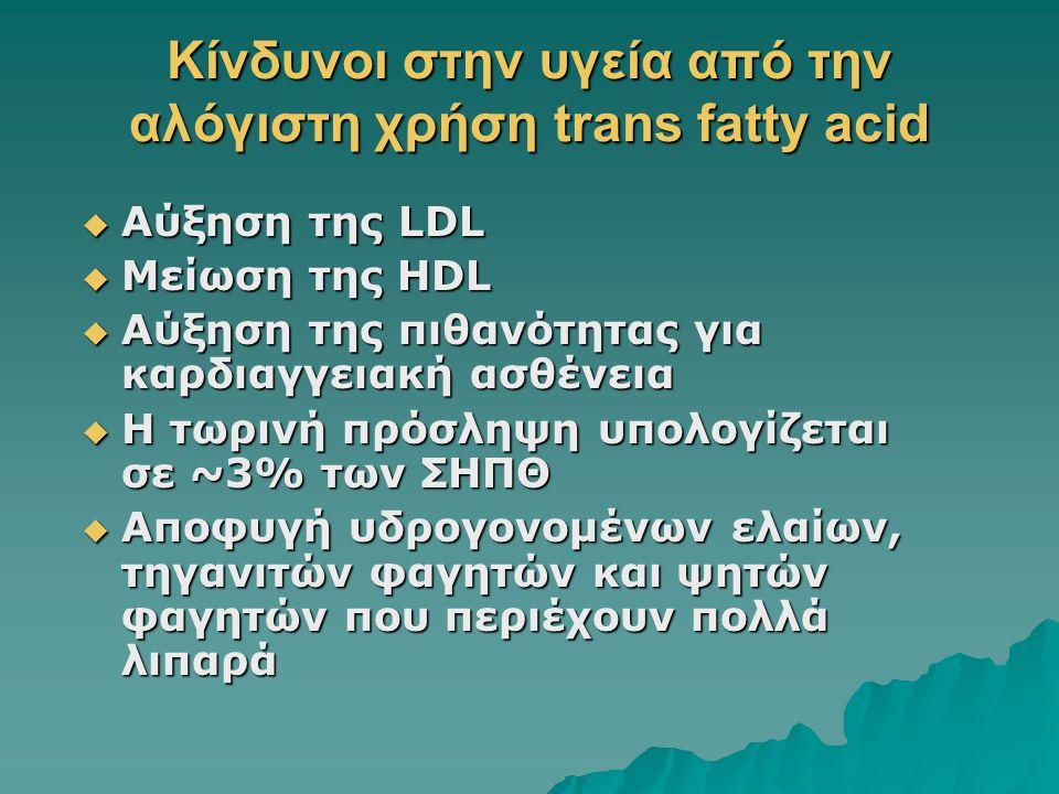 Κίνδυνοι στην υγεία από την αλόγιστη χρήση trans fatty acid  Αύξηση της LDL  Μείωση της HDL  Αύξηση της πιθανότητας για καρδιαγγειακή ασθένεια  Η
