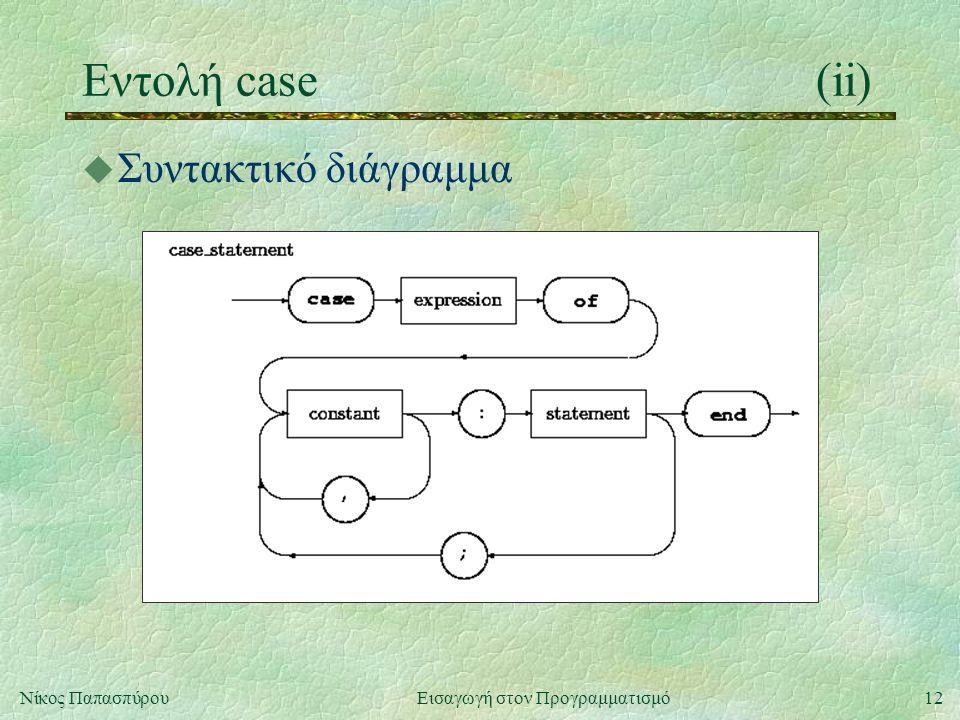12Νίκος Παπασπύρου Εισαγωγή στον Προγραμματισμό Εντολή case(ii) u Συντακτικό διάγραμμα