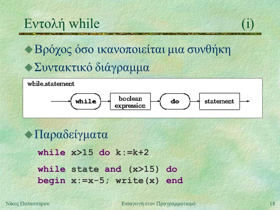 18Νίκος Παπασπύρου Εισαγωγή στον Προγραμματισμό Εντολή while(i) u Βρόχος όσο ικανοποιείται μια συνθήκη u Συντακτικό διάγραμμα u Παραδείγματα while x>15 do k:=k+2 while state and (x>15) do begin x:=x-5; write(x) end