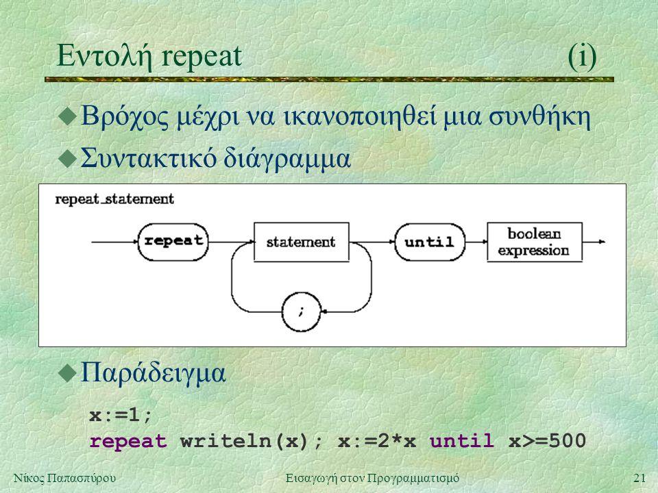 21Νίκος Παπασπύρου Εισαγωγή στον Προγραμματισμό Εντολή repeat(i) u Βρόχος μέχρι να ικανοποιηθεί μια συνθήκη u Συντακτικό διάγραμμα u Παράδειγμα x:=1;