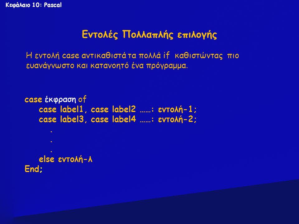 Κεφάλαιο 10: Pascal Εντολές Πολλαπλής επιλογής case έκφραση of case label1, case label2 ……: εντολή-1; case label3, case label4 ……: εντολή-2;. else εντ
